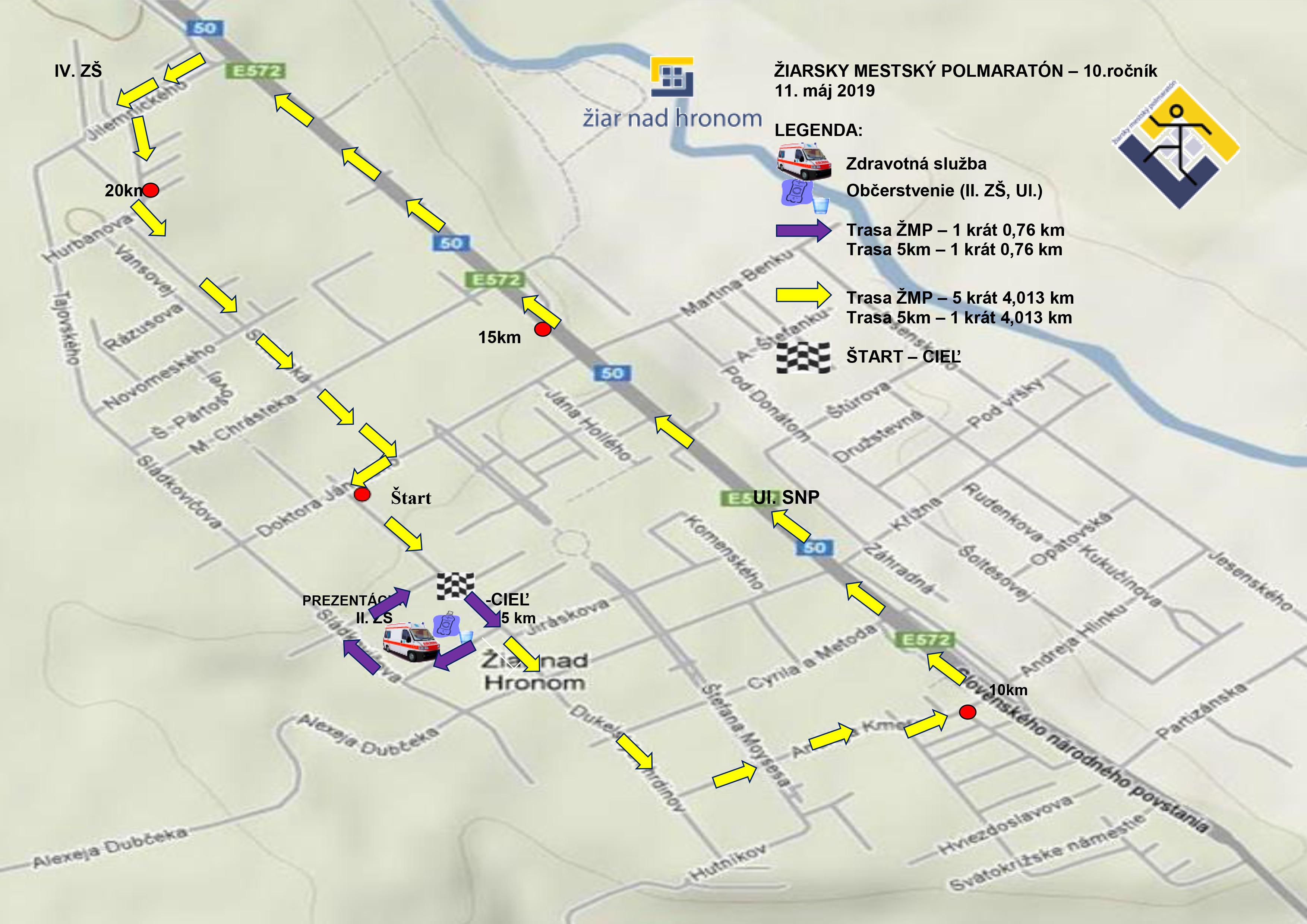 10. ročník Žiarského mestského polmaratónu - mapa preteku